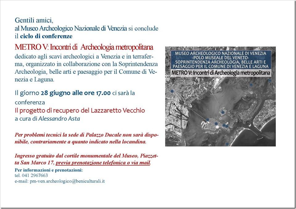 """conferenza """"Il progetto di recupero del Lazzaretto Vecchio""""a cura dell'archeologo Alessandro ASTA"""