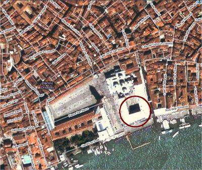foto aerea tratta da google mapps del Palazzo Ducale