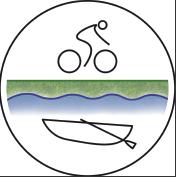 Logo del Tour Terracqueo. Tondo diviso in due parti. La parte inferiore di colore azzurro sfumato raffigura delle onde ed una barchetta; la parte superiore, di colore verde sfumato, un ciclista