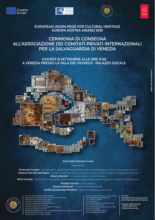Locandina UROPEAN UNION PRIZE FOR CULTURAL HERITAGE EUROPA NOSTRA AWARD 2018 CERIMONIA DI CONSEGNA ALL'ASSOCIAZIONE DEI COMITATI PRIVATI INTERNAZIONALI PER LA SALVAGUARDIA DI VENEZIA
