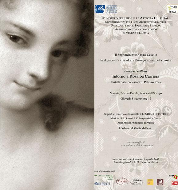 Biglietto di invito all'inaugurazione della mostra: La donna nell'arte - Intorno a Rosalba Carriera