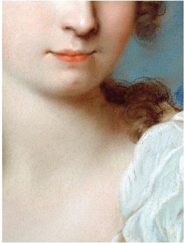 particolare di un pastello di Rosalba Carriera dove si può notare la perizia tecnica nel rendere l'incarnato