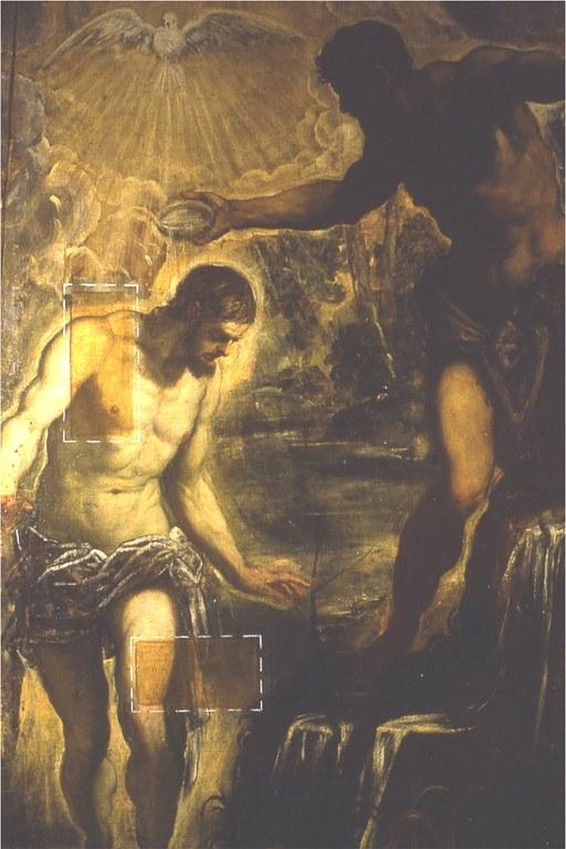Battesimo di Cristo durante la pulitura