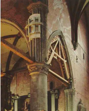 opere provvisionali di messa in sicurezza della colonna centrale della Chiesa dei Frari