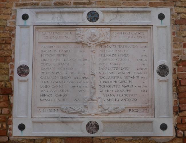 Chiesa di San Martino, lapide commemorativa