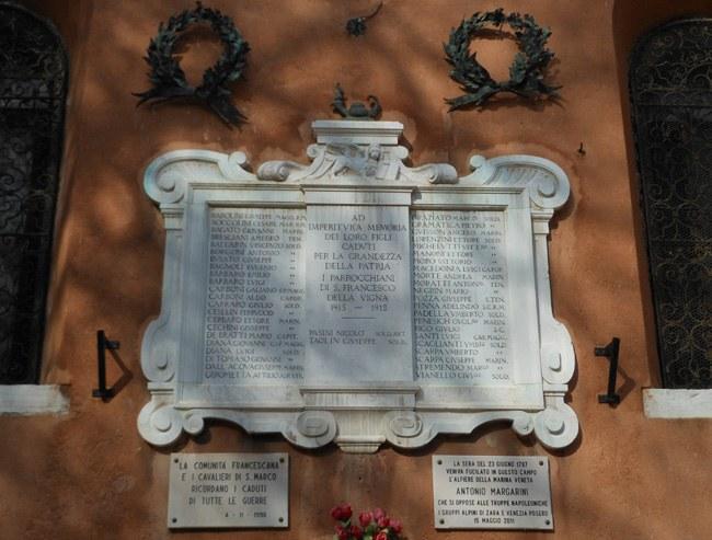 San Francesco della Vigna, lapide commemorativa